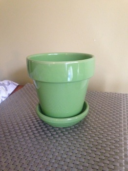 Bright green flower pot